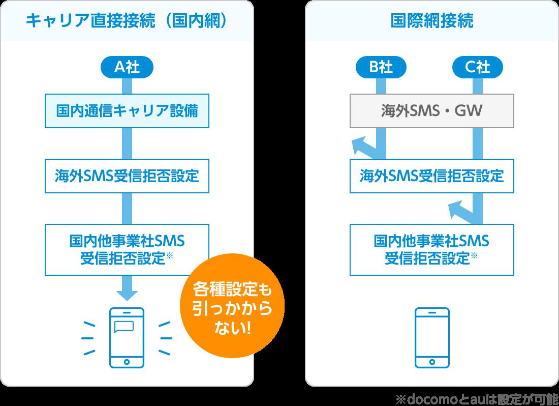 SMS送信におけるキャリア直接接続と国際網接続の違い